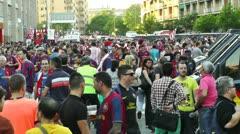 Estadio Vicente Calderon before match Copa Del Rey Final 2012 12 Barca Fans h Stock Footage