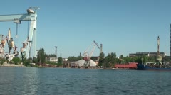 Equipment and cranes in the port Stock Footage