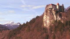 A beautiful medieval castle in the Alps, Slovenia. Stock Footage