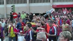 Estadio Vicente Calderon before match Copa Del Rey Final 2012 13 Barca Fans h Stock Footage
