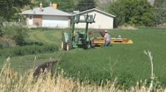 Farmer rural community cutting alfalfa hay tractor P HD 2387 Stock Footage