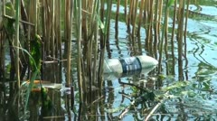 At the port in the reeds floating bottle Stock Footage