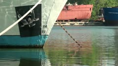Anchor and numbers which measure the depth of the ship Stock Footage