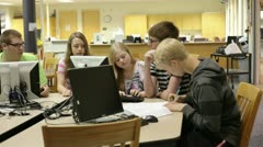 Students in school library Stock Footage