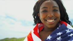 Smiling Ethnic Girl American Flag Stock Footage
