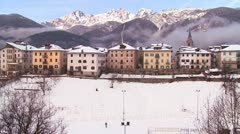 A snowbound village in the Alps in Austria, Switzerland, Italy, Slovenia or an - stock footage