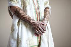 Caucasian woman with traditional Indian wedding clothing and henna tattoos Stock Photos