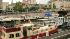 Boats Docked at the Port in Verdun, France,  Stock Footage