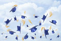 Graduation mortarboards being thrown in the air - stock illustration