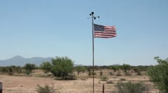 American flag flying at border (HD) c Stock Footage