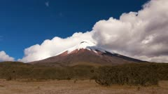 Fast moving clouds over the Cotopaxi volcano in Ecuador 5897m 19347ft, the Stock Footage