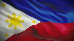 Highly detailed flag of the Philippines ripples in the wind. Looped Stock Footage