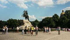 The Peter The Great Statue and Tourists, St. Petersburg, Russia (timelapse) Stock Footage