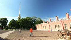 Peter and Paul fortress Courtyard, St. Petersburg, Russia (timelapse) Stock Footage