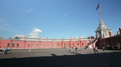 Courtyard of the Peter and Paul fortress,St. Petersburg,Russia Stock Footage