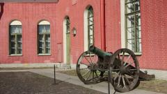 Ancient Gun in Peter and Paul Fortress, St. Petersburg, Russia Stock Footage