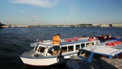 Tour ship Crew prepares to sail, St. Petersburg, Russia Stock Footage