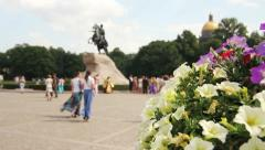 Tourists near the Peter The Great Statue,St. Petersburg,Russia Stock Footage