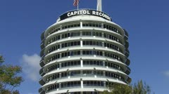 Capitol Records Building In Hollywood CA Stock Footage