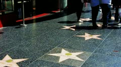Tourist's Feet On Hollywood Walk Of Fame 2 Stock Footage