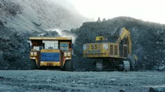 stock footage large dump truck working in a quarry huge trucks career - stock footage