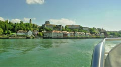 Ship driving away from Meersburg/ Lake Constance Stock Footage
