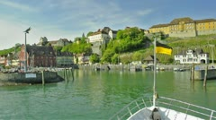 Passenger ship drives into the harbor of Meersburg/ Lake Constance Stock Footage