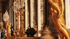 Golden statues in Hall of Mirrors, Palace of Versailles (HD) c Stock Footage