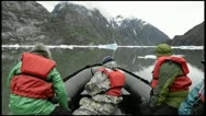 Stock Video Footage of POV boat ride cruising through a glassy waters in Endicott Arm in Tracy