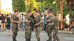 French Military Providing Security at Public Gathering Stock Footage