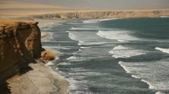 Coast With Clips And Beach (Peru, Paracas) Stock Footage