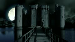 scary Full moon over evil demon vampire Castle horror spooky cathedral devil - stock footage