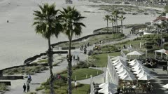 People enjoying the bike path on the beach in front of the Hotel Del Coronado in Stock Footage