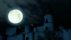 Scary Full moon over evil demon vampire Castle horror spooky cathedral devil Stock Footage