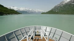 Point of view time-lapse on a bow of a ship approaching Margerite Glacier in Stock Footage