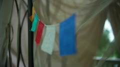 Buddhism buddhist prayer flags tibet Stock Footage