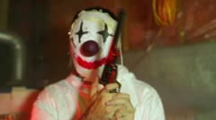 clown nightmare gun scary - stock footage