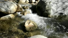 Panning right shot of clear and clean waterfall  in San Antonio Creek in Upper Stock Footage