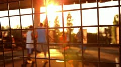 Young men play streetball (out of focus) Stock Footage