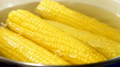 Stock Video Footage of Boiled Corn Cob