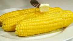 Boiled Corn Cob With Butter Stock Footage