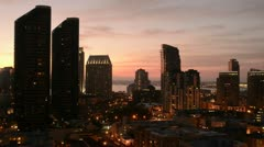 Downtown San Diego at night from above in the National Historic District in the - stock footage