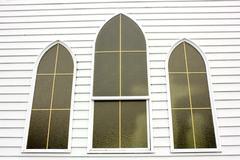 Church Windows White Wood Background - stock photo