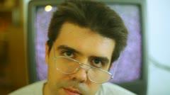 Glasses nerdy nerd tv smart Stock Footage