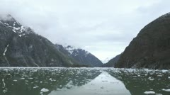 Point of view time-lapse from the bow of a ship drifting with ice in Tracy Arm Stock Footage