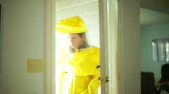 Hazmat guy coming into house Stock Footage