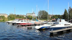 Yachts anchored - stock footage