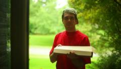 pizza delivery guy - stock footage