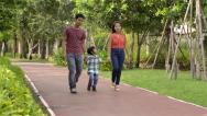 Stock Video Footage of Young happy Asian family walking in the park together