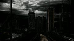 Dark city train Stock Footage